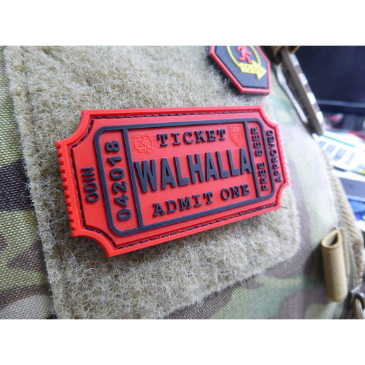 JTG WALHALLA TICKET - Odin approved Patch, red / JTG 3D Rubber Patch