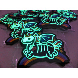 JTG Skeleton Unicorn Patch, gid glow in the Dark, JTG 3D Rubber Patch