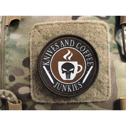 Knives and Coffee Junkies Punisher Patch, gewebter Patch, Sammlerpatch