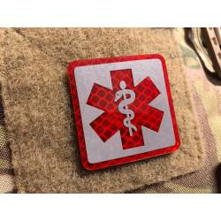 JTG MEDIC Logo, rot und silber reflektierend, mit...