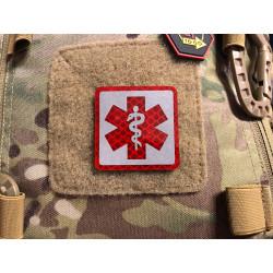 JTG MEDIC Logo, rot und silber reflektierend, mit Klettrückseite
