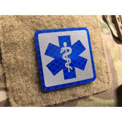 JTG MEDIC Logo, blau und silber reflektierend, mit...