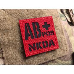 JTG Blutgruppen AB pos NKDA, Lasercutpatch, Signalrot...