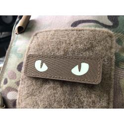 Cat Eyes Lasercut Patch, Coyote, gid nachleuchtende Augen  / Cordura Lasercut
