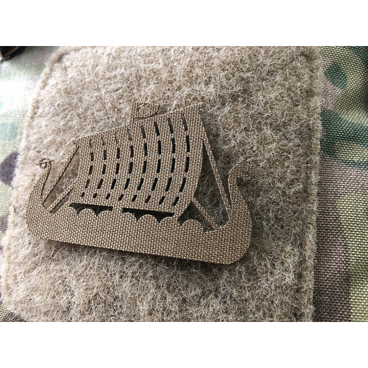 Drakkar Dragon Ship Lasercut Patch, Coyote, Cordura Lasercut
