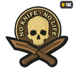 No Knife No Life, coyote, 3d Rubber Patch