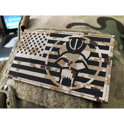 Trident Dog Flag 125 x 75mm Lasercutpatch, AOR desert, IR Logo, mit Klettrückseite