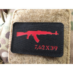 AKM 7,62x39 Lasercut Patch, black red, Cordura Lasercut