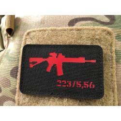 AR-15 223/5,56 Lasercut Patch, black red, Cordura Lasercut