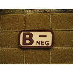 JTG - Bloodtype Patch B NEG, desert / 3D Rubber patch