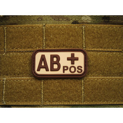 JTG - Blutgruppen Patch AB POS, desert / 3D Rubber patch