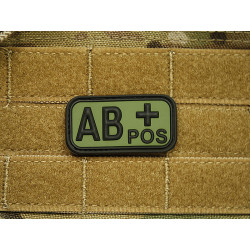JTG - Bloodtype Patch AB POS, forest / 3D Rubber patch