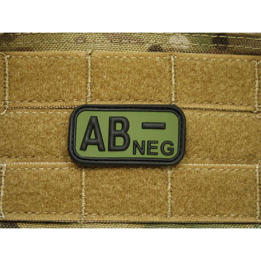 JTG - Blutgruppen Patch AB NEG, forest / 3D Rubber patch