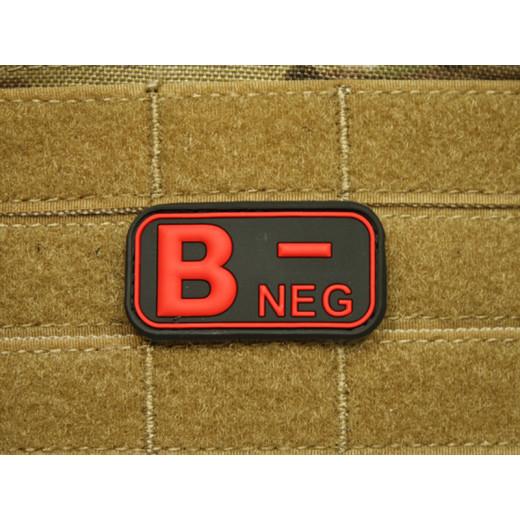 JTG - Blutgruppen Patch B NEG, blackmedic / 3D Rubber patch